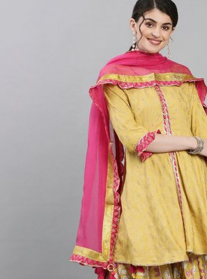Silk Readymade Suit in Mustard