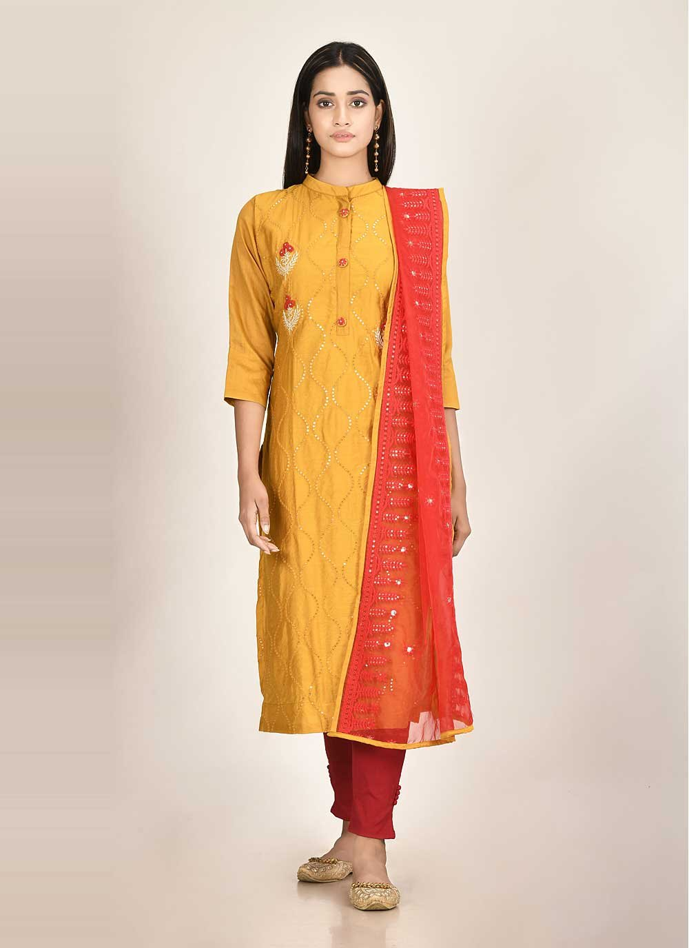 Silk Readymade Suit in Orange