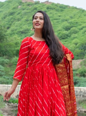 Silk Readymade Suit in Red