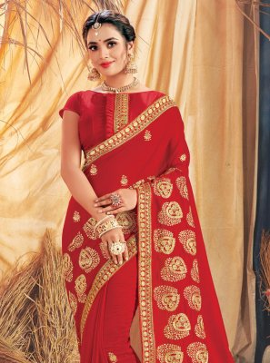 Silk Red Embroidered Designer Traditional Saree