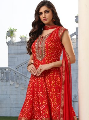 Silk Red Embroidered Readymade Suit