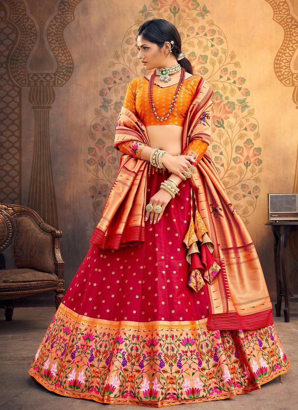 Silk Red Fancy Lehenga Choli