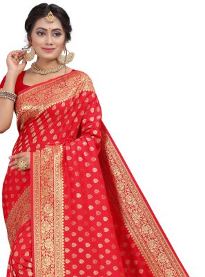 Silk Red Fancy Traditional Designer Saree