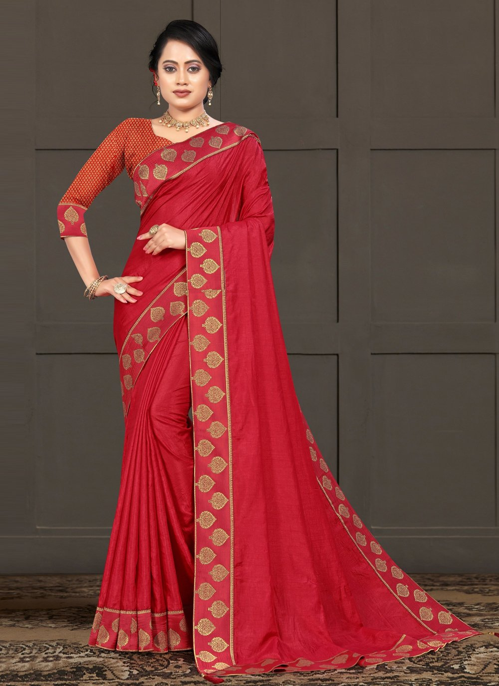 Silk Red Lace Classic Saree