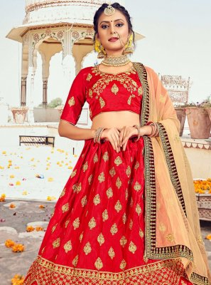 Silk Red Lehenga Choli