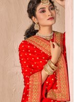 Silk Red Patch Border Traditional Designer Saree