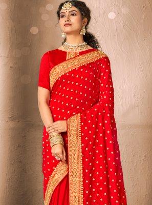 Silk Red Patch Border Traditional Designer Saree