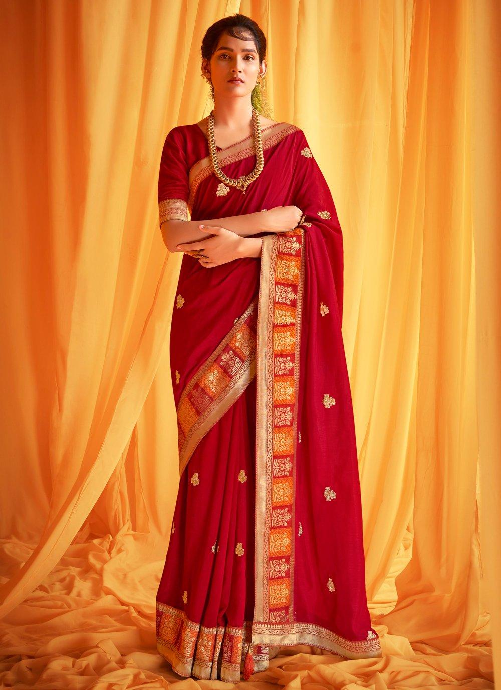 Silk Red Traditional Designer Saree