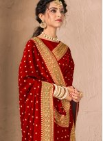 Silk Red Traditional Designer Saree