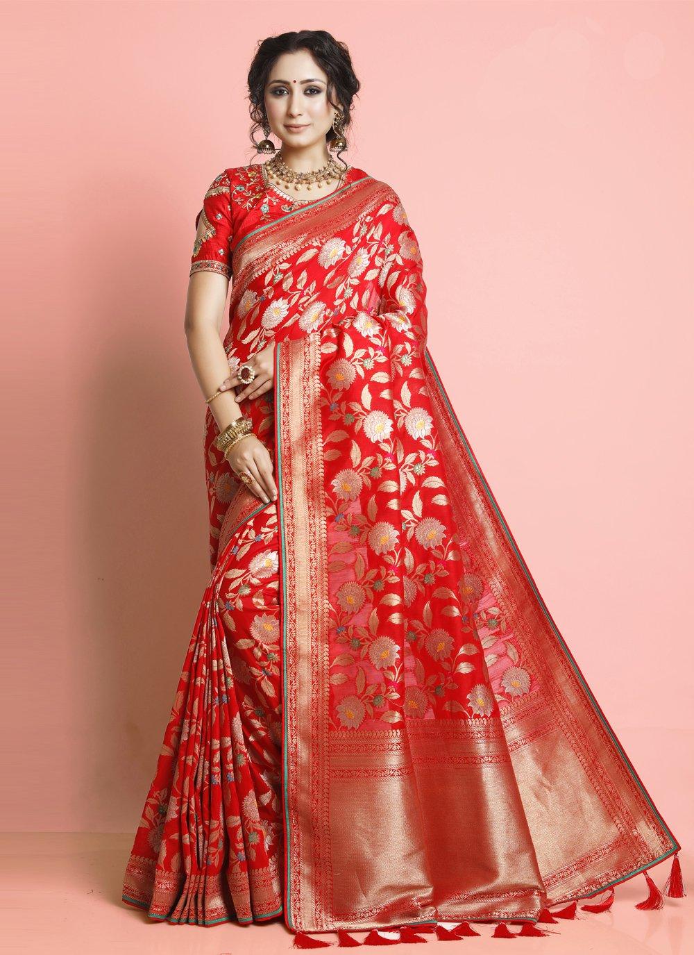 Silk Red Weaving Designer Traditional Saree