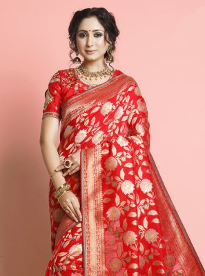Silk Red Weaving Designer Traditional Saree