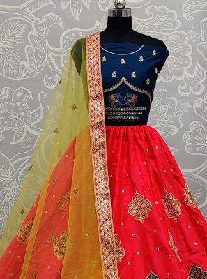 Silk Red Zari Lehenga Choli