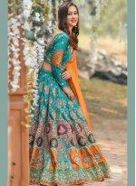 Silk Resham A Line Lehenga Choli in Blue