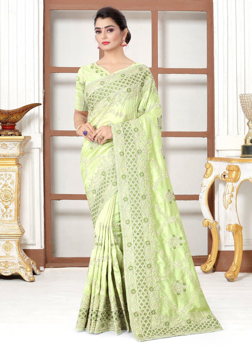 Silk Resham Designer Traditional Saree in Green