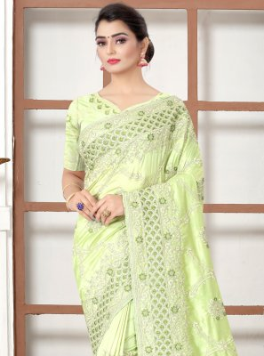 Silk Resham Designer Traditional Saree in Green