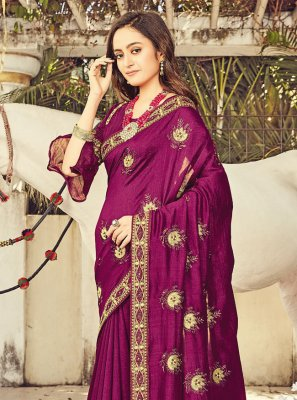 Silk Resham Designer Traditional Saree in Purple