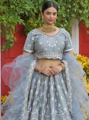 Silk Resham Grey Lehenga Choli