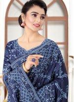 Silk Resham Navy Blue Traditional Saree