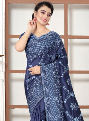 Silk Resham Navy Blue Traditional Saree