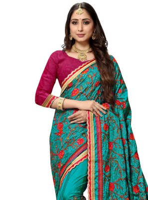 Silk Resham Sea Green Traditional Designer Saree
