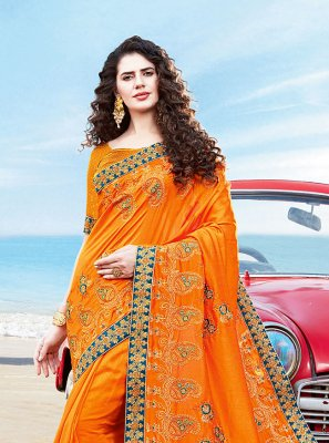 Silk Resham Yellow Traditional Designer Saree
