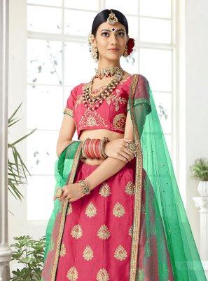 Silk Rose Pink Embroidered Lehenga Choli