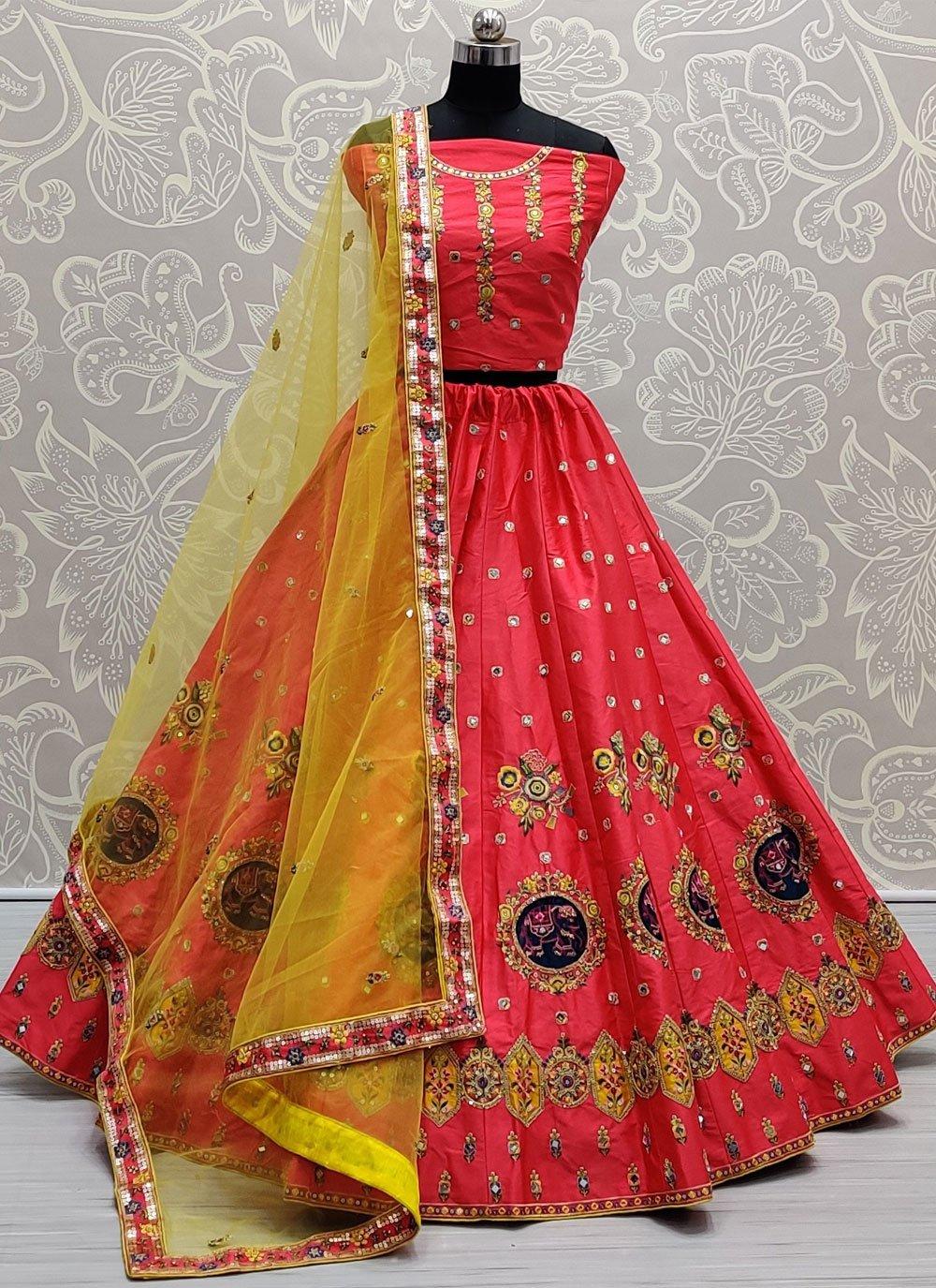 Silk Rose Pink Thread Lehenga Choli