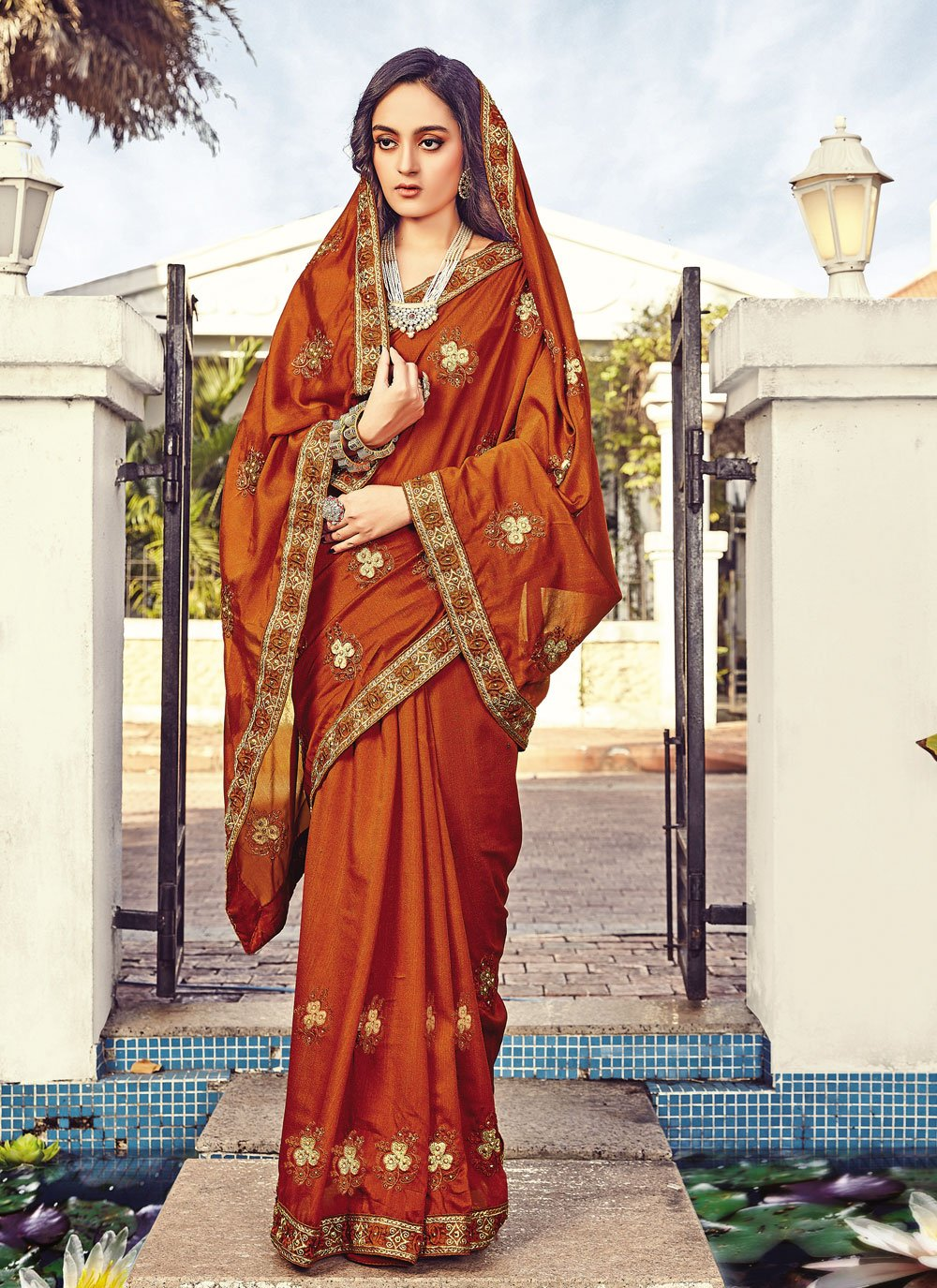 Silk Rust Traditional Designer Saree