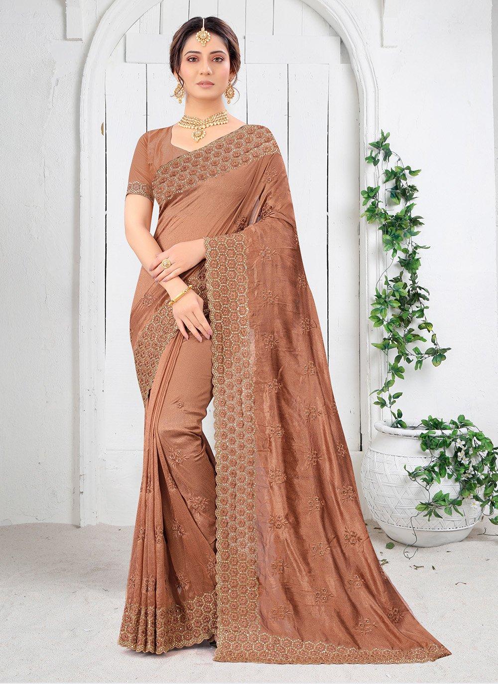 Silk Saree Resham Vichitra Silk in Brown