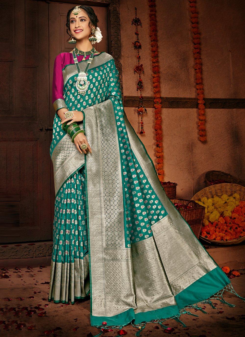 Silk Sea Green Designer Traditional Saree