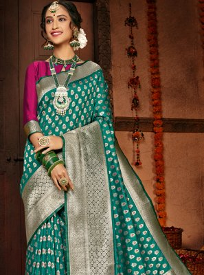 Silk Sea Green Designer Traditional Saree