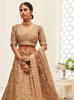 Silk Sequins Brown Designer Lehenga Choli