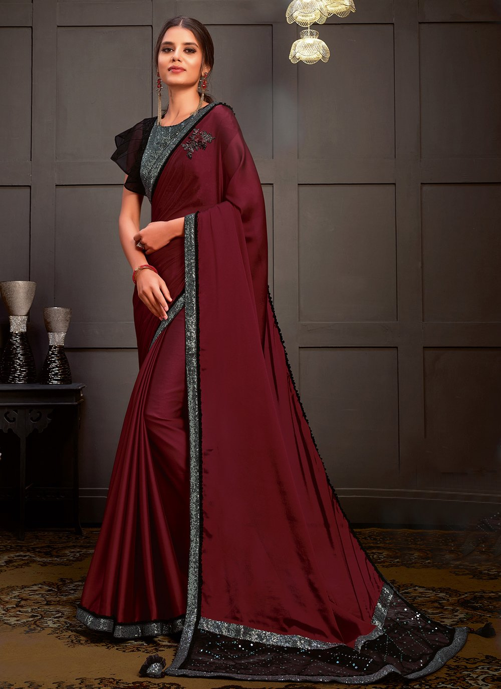 Silk Sequins Designer Saree in Wine