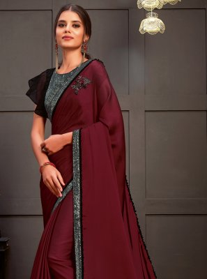 Silk Sequins Designer Saree in Wine