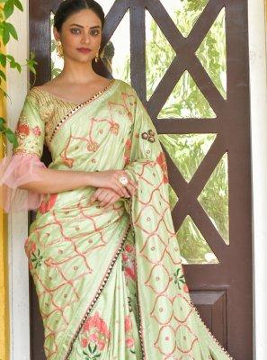Silk Sequins Designer Traditional Saree in Green