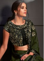 Silk Sequins Green Designer Saree