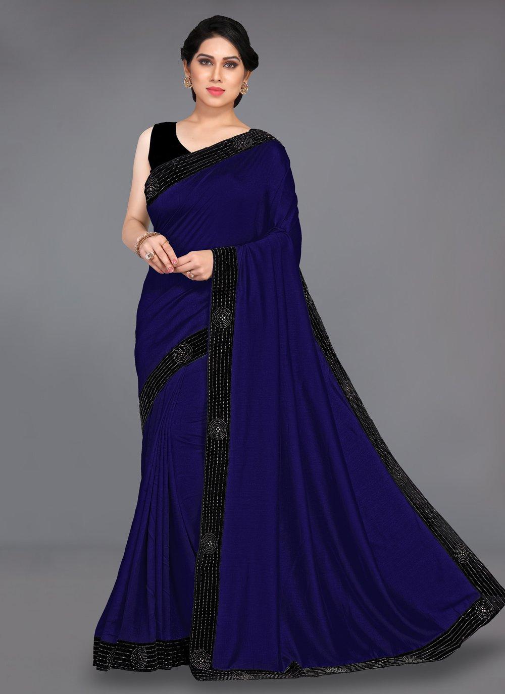 Silk Stone Designer Traditional Saree in Blue