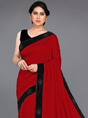 Silk Stone Red Traditional Designer Saree