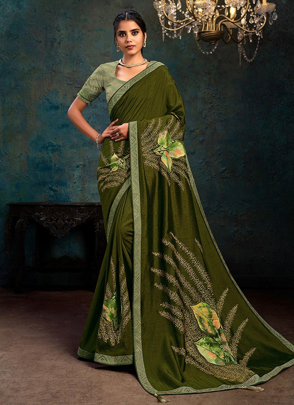 Silk Stone Work Green Classic Designer Saree