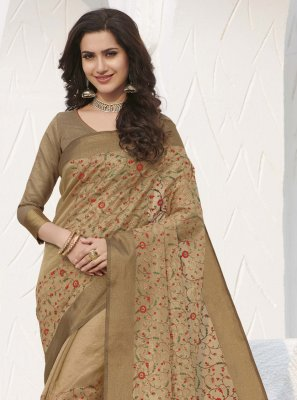 Silk Swarovski Beige Traditional Saree