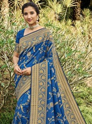 Silk Swarovski Blue Traditional Designer Saree