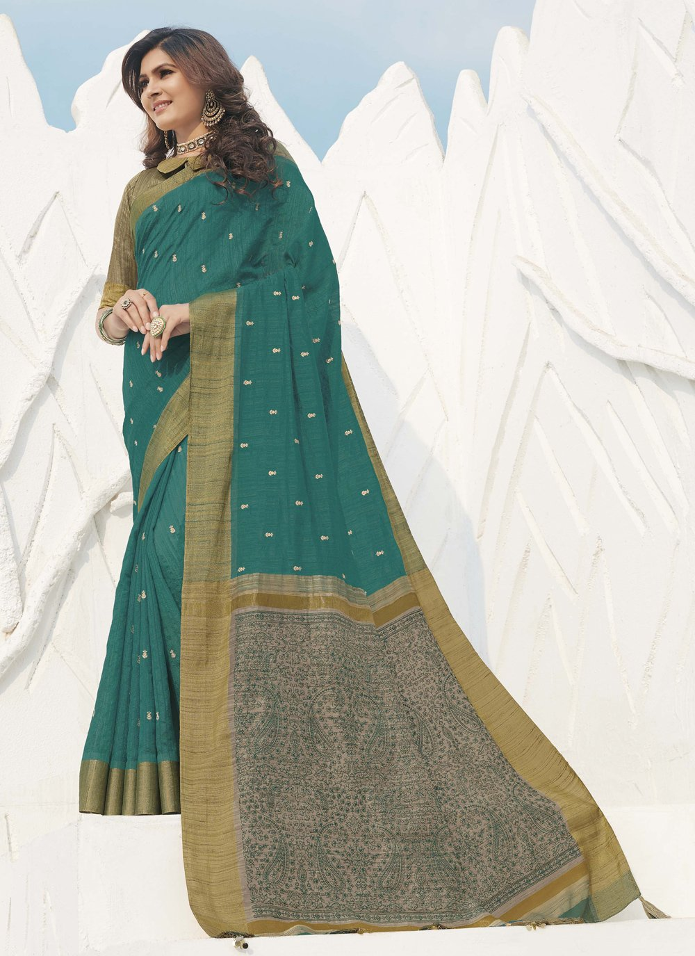 Silk Swarovski Green Traditional Designer Saree