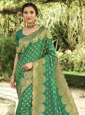 Silk Swarovski Green Traditional Designer Saree