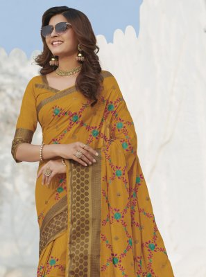 Silk Swarovski Mustard Traditional Saree