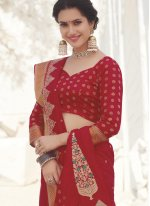 Silk Swarovski Red Traditional Designer Saree