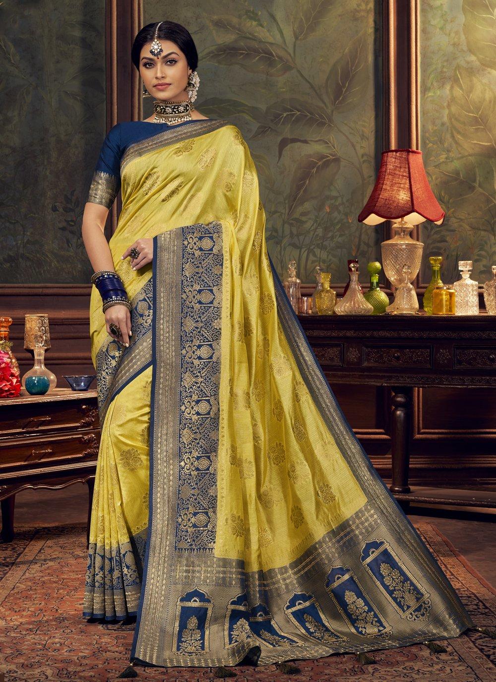 Silk Swarovski Yellow Designer Traditional Saree