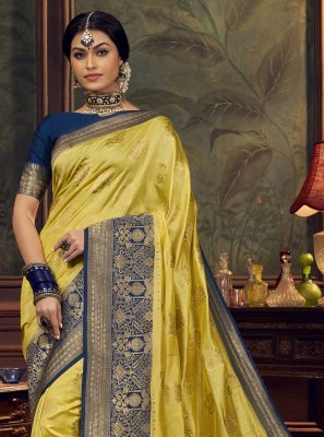 Silk Swarovski Yellow Designer Traditional Saree