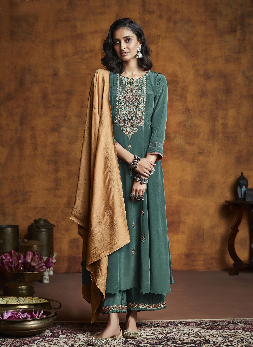 Silk Teal Designer Palazzo Salwar Suit