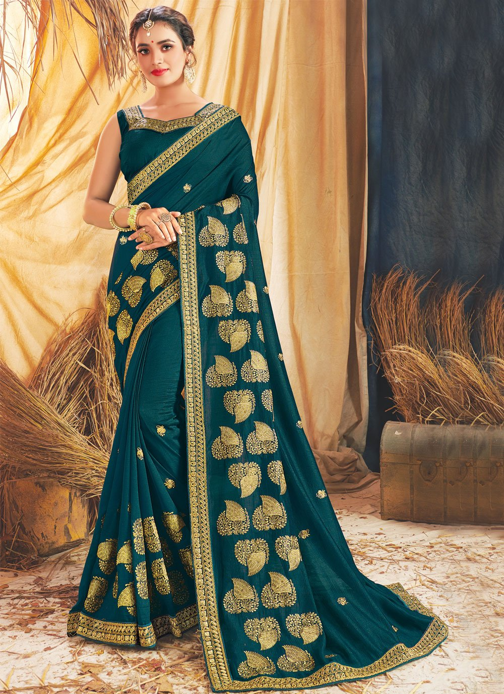 Silk Teal Designer Traditional Saree