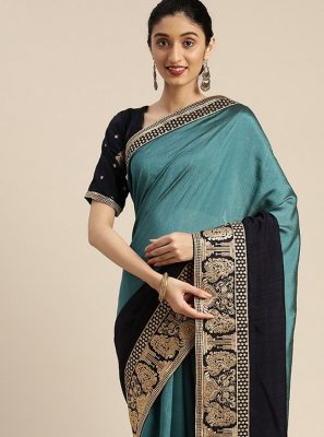 Silk Teal Embroidered Traditional Designer Saree